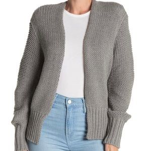 NWT Mustard Seed Gray Waffle Knit Open Cardigan S